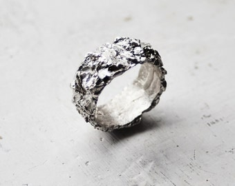 Sterling silver Band Ring/ One of a kind ring / Minimal Ring / Unrefined Ring / Earth Ring
