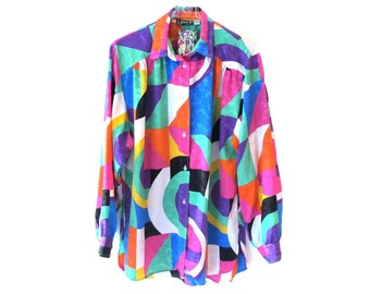 80s JINNY JIN Abstract Rainbow Art Silk Oversized Button Up Blouse Size Large
