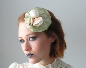Chartreuse Lace Seashell Trio Fascinator Hat