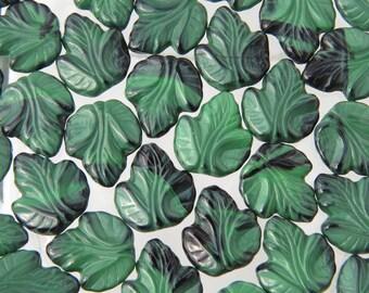 20x18mm 2 Tone Opaque Malachite Czech Glass Leaf Beads - Qty 10 (BS431)