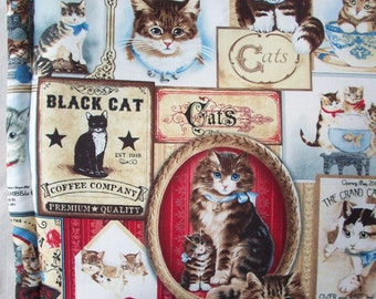 """Catnip Pillow - Vintage Style Cat Labels Bed - Neutral Grays and Taupe with Pops of Red and Blue - 16 3/4"""" x 16 3/4"""" Cat Mat"""