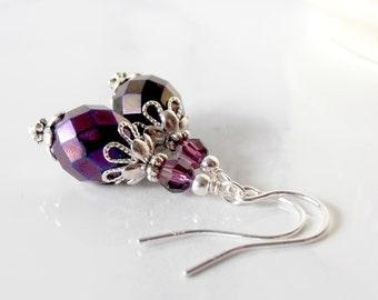 Dangle Earrings, Bead Earrings, Holiday Jewelry, Unique Bridesmaid Earrings, Dark Purple Dangles, Sterling Silver Earwires, Gifts Under 20