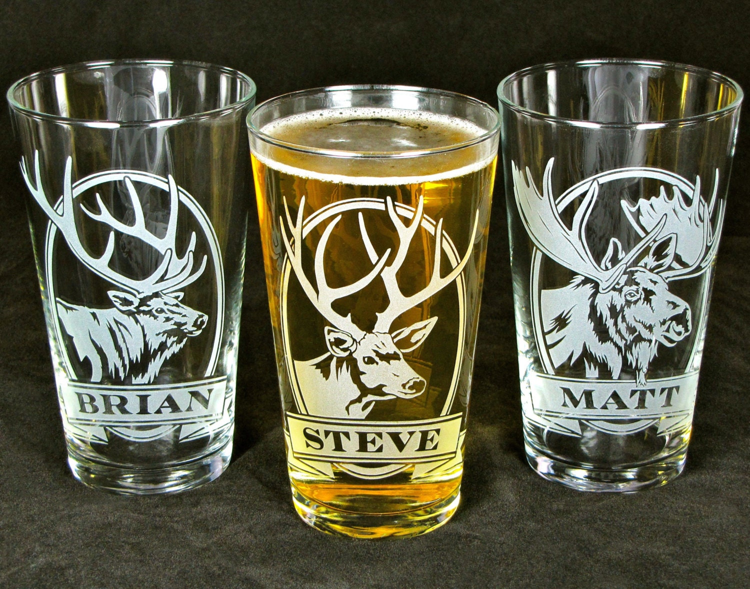Wedding Gifts Engraved Glasses : Personalized Pint Glasses Rustic Chic Wedding Gifts for