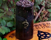 "DRAGONS BLOOD 3x6 ""Old European Witchcraft""™ Deep Burgundy Pillar Candle with Dragon's Blood, Bronze Fire Dragon Charm"