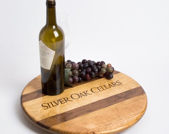 Silver Oak Crate Lazy Susan with Walnut Inlay