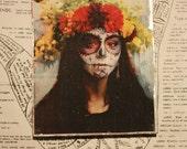 Day of the Dead, 4 x 5, Original Art, Unique Fine Art, Photography, Dia De Los Muertos, Flower Headdress