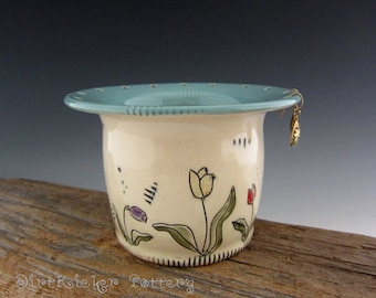 Earring Bowl in Vintage Turquoise with Tulips and Hearts - Jewelry Organizer - Pottery Earring Holder - by DirtKicker Pottery