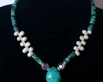 Still Waters Run Deep,... Genuine Turquoise and FreshWater Pearls Necklace