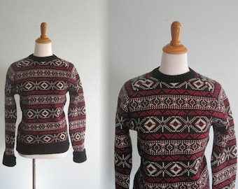 Vintage Calvin Klein Fair Isle Inspired Sweater in Black, Scarlet, and Ivory - 80s Wool Sweater - Vintage 1980s Sweater S M