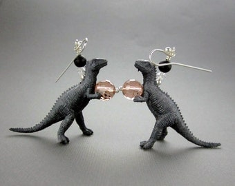 Dinosaur Earrings, Pink and Grey, with Sterling Silver