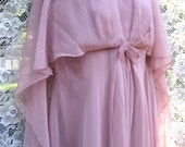 41 bust MYTHOLOGY ANCIENT Greco Roman Style Cocktail Party dress, ball gown in Dusty Rose, 1960s 60s Sheer Crepe Chiffon Gown