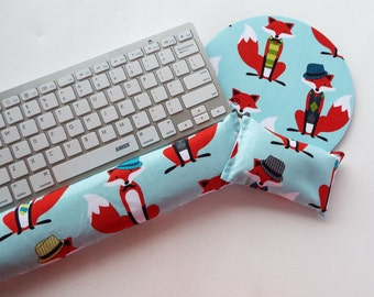 dapper foxes on aqua - Mouse pad set - mouse wrist rest - keyboard rest - coworker gift, under 50, office accessories, desk, cubical decor