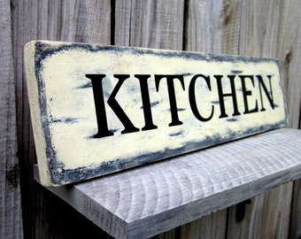 Kitchen Sign, Rustic, Painted Wood, Wooden Sign, Rustic Decor, Kitchen, Distressed, Kitchen Wall Decor, Farmhouse Sign