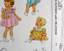 UNCUT Vintage 1950's McCalls Pattern 1625  * SWEET Toddlers'   Dress and Diaper Panties  * Size 1