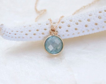 Rose Cut Blue Green Montana Sapphire and Solid 14k Yellow Gold Solitaire Necklace - Eco Friendly & Ready to Ship