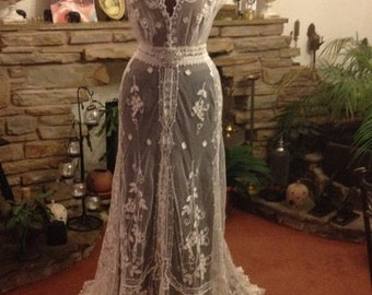 ONLY ONE! N E W • A R R I V A L  •  Antique Lace Heirloom Wedding Gown,  Vintage Antique Lace, Ehereal, Bohemian, Wedding Dress
