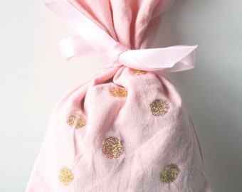 10 x PINK & GOLD polka dot PARTY favour bags