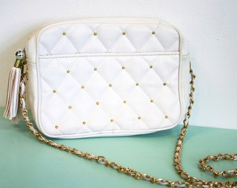 Vintage 1980s Faux Vegan Leather Chateau White Quilted Gold Studded Purse