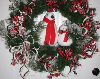 Sale!! Penguins Christmas, or Winter Wreath, Red Iced Berries, Door or Indoor Holiday Decor