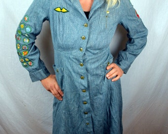 Rare 1930s 1940s Vintage Girl Scout Dress Uniform with Patches