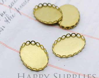 40% - Big Sale - 30Pcs 13x18 mm/18x25mm/30x40mm Nickel Free - High Quality Raw Brass Crown Cabochon Settings / Pendant Base (LD15)