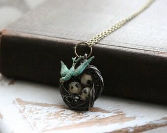 Nest necklace, bird's nest necklace, flying bird necklace, birds nest jewelry, birds nest pendant