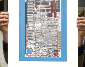 Sinclair ZX Spectrum (Speccy) screen print blue red gold art silkscreen circuit portrait retro computing