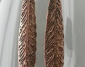 Etched Copper Feather Earrings