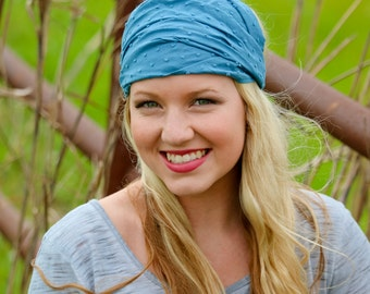 Women's Head Scarf Chambray Blue Festival Head Cover Boho Headband Lightweight Head Scarf Pre Tied Head Cover Blue Headband (#2711) S M L