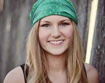 Headscarf Fashion, Kelly Green Head Scarf, Fashion Head Wrap, Bandanna Headscarves, Bright Green Floral Head Scarf (#2216) M