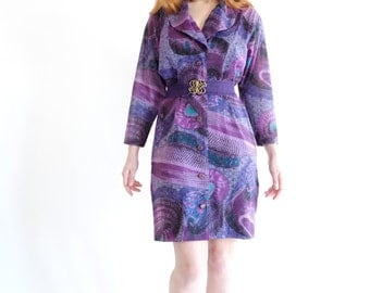 Tabasco, purple coat dress, vintage, medium - large