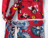 Disney Mickey Mouse,Souvenier Pin ID Holder with Lanyard,Disney World Pass Holder,DisneyLand Amusement Park,Quilted Coin Purse,Captain Mick