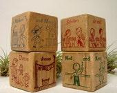 Wood Alphabet Blocks 4 School Images Children Vintage Letters