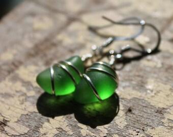 Genuine Sea Glass Earrings - Vintage Green Sea Glass Earrings Jewelry