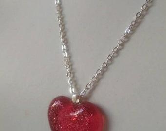 Smooth soft red sparkling heart, glitter heart necklace, gift for her, red heart pendant, smooth heart, deep pink heart pendant