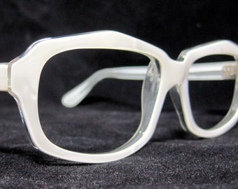 Vintage 60s Cat Eye Glasses. New Old Stock. Pearl White Oval CatEyes.