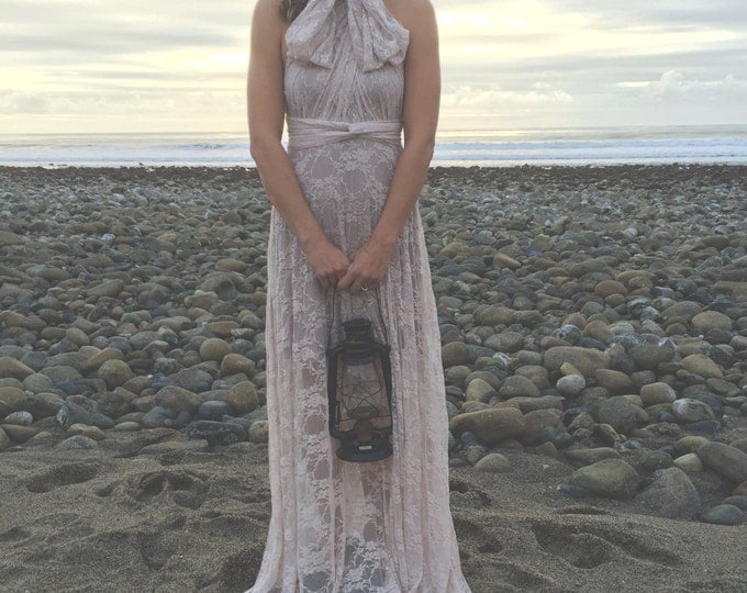 Blush Bohemian Full Lace with short slip Octopus Infinity Wrap Dress~With Castle Hill Coco Champagne~ Bridal, Bridesmaids, Prom