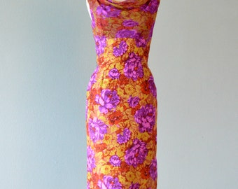 Vintage 1950s Cocktail Dress..LEE CLAIRE Beautiful Silk Floral Cocktail Dress Party Dress