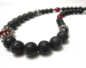 Men's Necklace, Lava Stone, 21.5-Inch Onyx Necklace, Husband Gift, Red Glass Beads, Silver & Black Lava Rock, Unique Necklace for Men