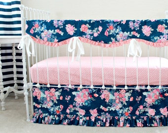 Navy Floral Crib Rail Cover, Navy and Pink Nursery, Baby Girl Bedding, Bumperless crib bedding set by lottiedababy
