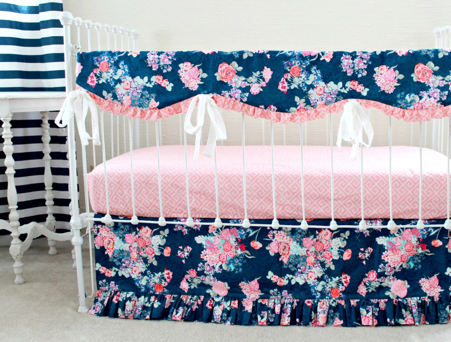 Navy Floral Crib Rail Cover Navy And Pink Nursery Baby Girl