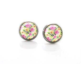 Tropical Summer Jungle Flowers Titanium Post Earrings | Hypoallergenic Earring Stud | Titanium Earring Stud | Sensitive jewelry post studs