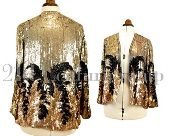 1920s 1930s Art Deco Sequin Jacket. 'Adrian Look' - Madam Satan. Jazz Age. Flapper. Old Hollywood Glamour. Probably French.