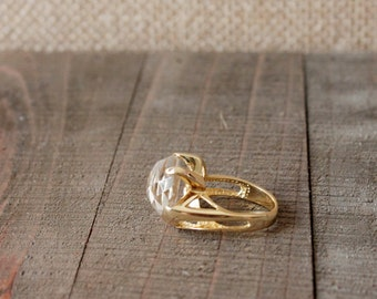 GEMSTONE RING/// Clear Quartz Gold Filled Faceted Ring/ Size 6.5 Ring/ 10k Gold/ Gemstone Ring/ Natural Crystal Quartz/ Gold Ring Statement