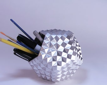 home office decor silver geometric pencil holder studded pen cup silver pencil cup