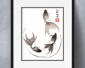 Goldish sumi-e watercolor painting - Follow the Leader - 8x10 (Print)