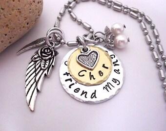 Friend Memorial Jewelry, Friend Memorial Necklace, My Friend My Angel, Friend Bereavement, Loss of Friend, Friend Loss