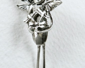 Sterling, Sterling Silverware, And PMC Angel Pendant - Lauryn Learns From Dragonflies - Strength - Empowerment - Art Jewelry Pendant - 1687