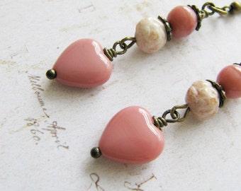 Peach heart earrings, romantic jewelry, peach jewelry, gift for her, dangle earrings, bronze earrings