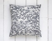Decorative Grey & White Vintage Kimono Silk Fabric Floral Cushion Pillow 'Winding Water'